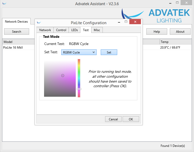 Advatek test window